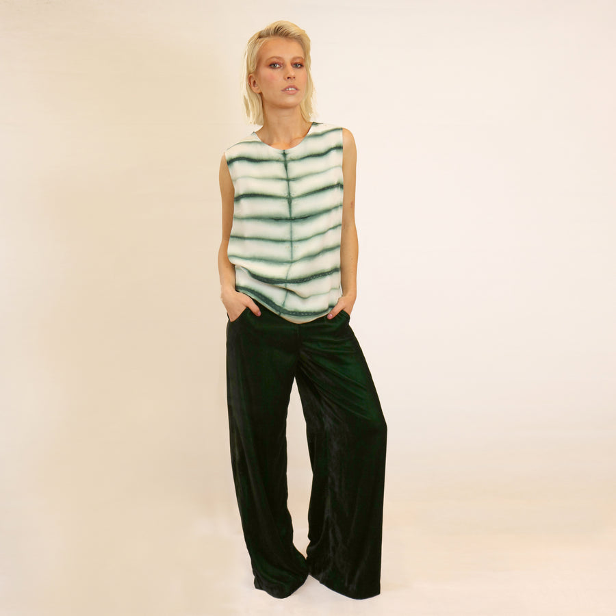 GREEN VELVET WIDE LEG TROUSERS