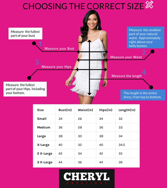 Cheryl Creations Fringe dress size guide