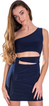 Juniors One Shoulder Tie Side Dress