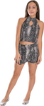 Kids Dark Snake Halter Top and Skort Set