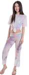 Kids Tie - Dye Mesh Knot Front Top and Pants Set