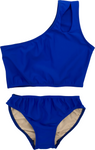 Girl's Two Piece One Shoulder Bathing Suit