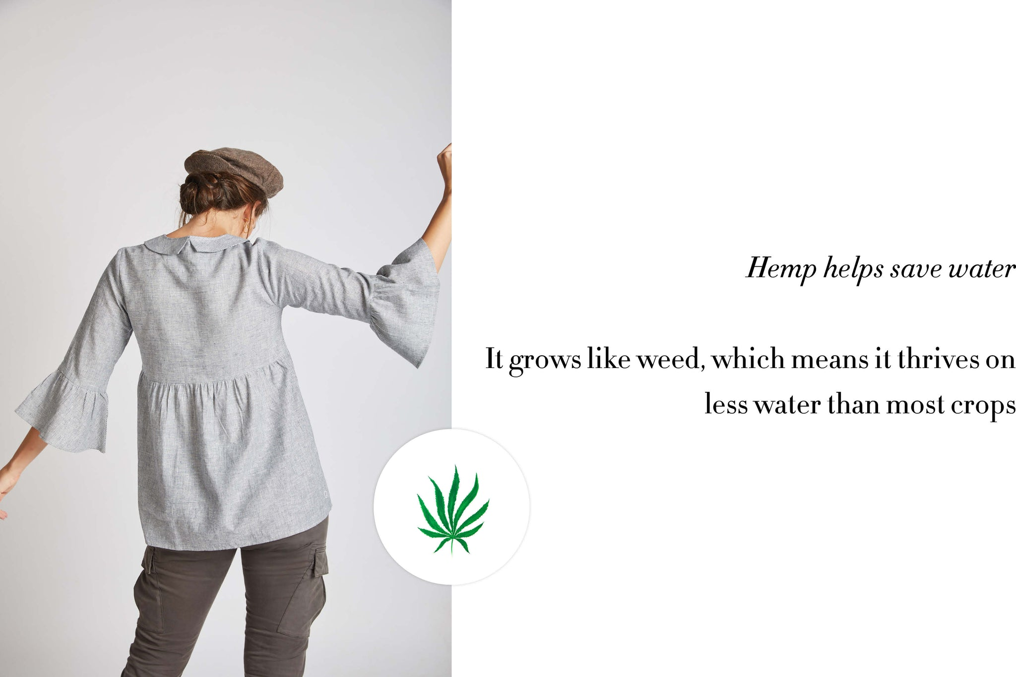Hemp helps save water . It grows like weed , which means that it thrives on less water than most crops