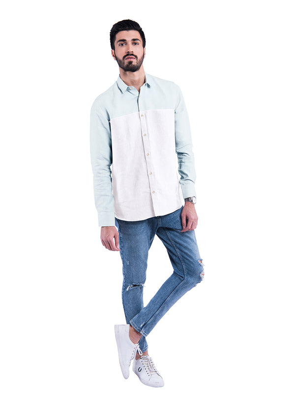 Colour Blocked Sativa 188 Shirt - White & Mint