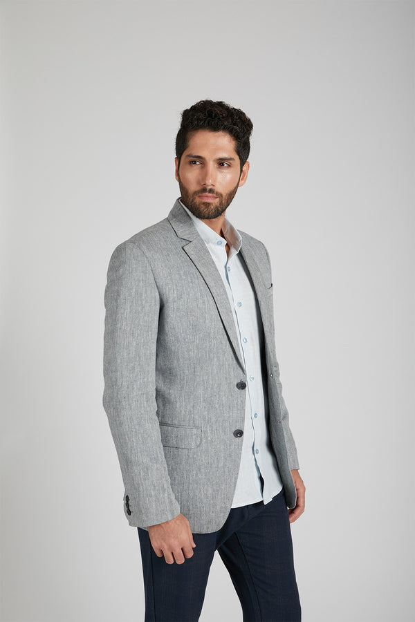 Firestone Formal Blazer - Grey Herringbone