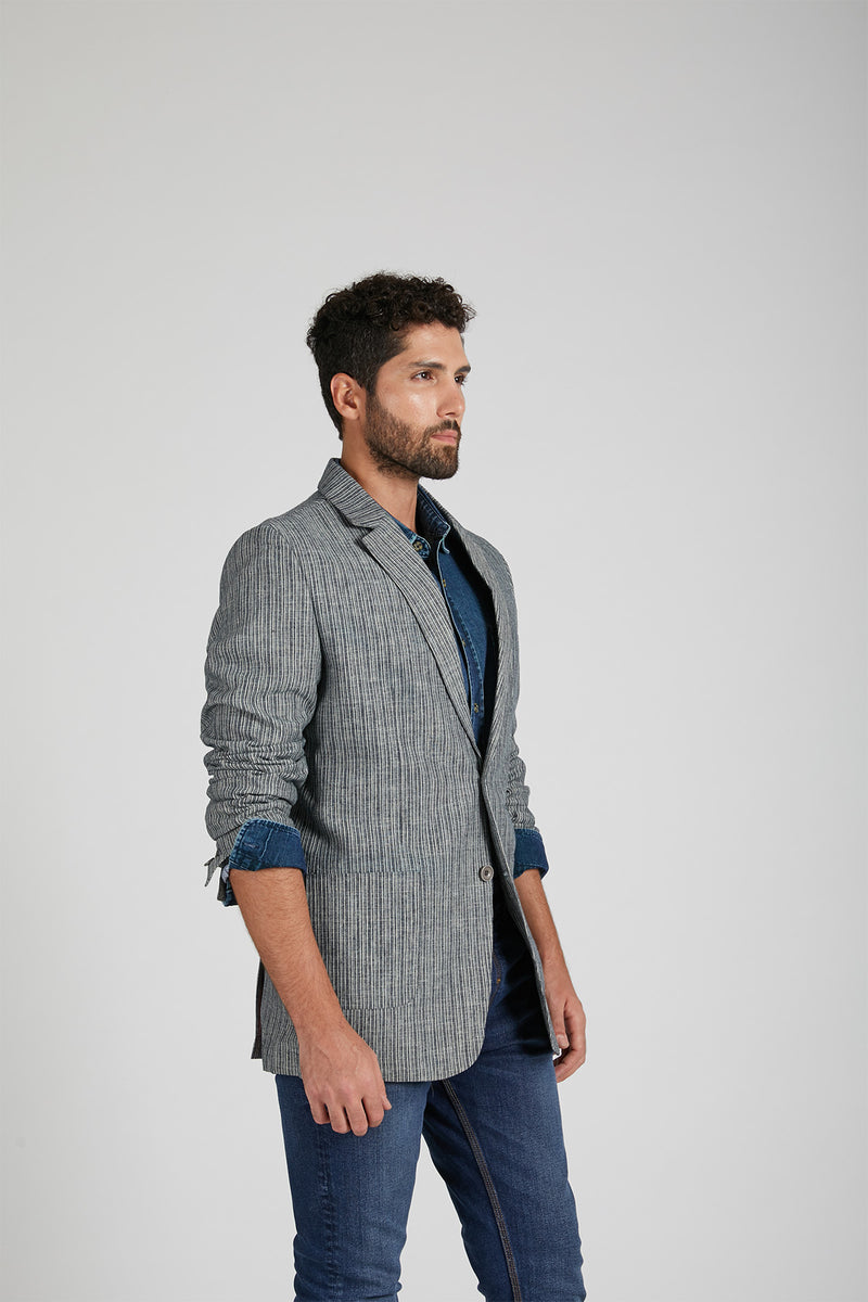 Arrowhead Casual Blazer - Grey Stripes