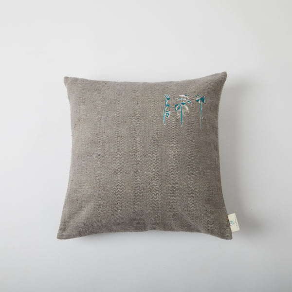 Aari Embroidered Cushion - Grey