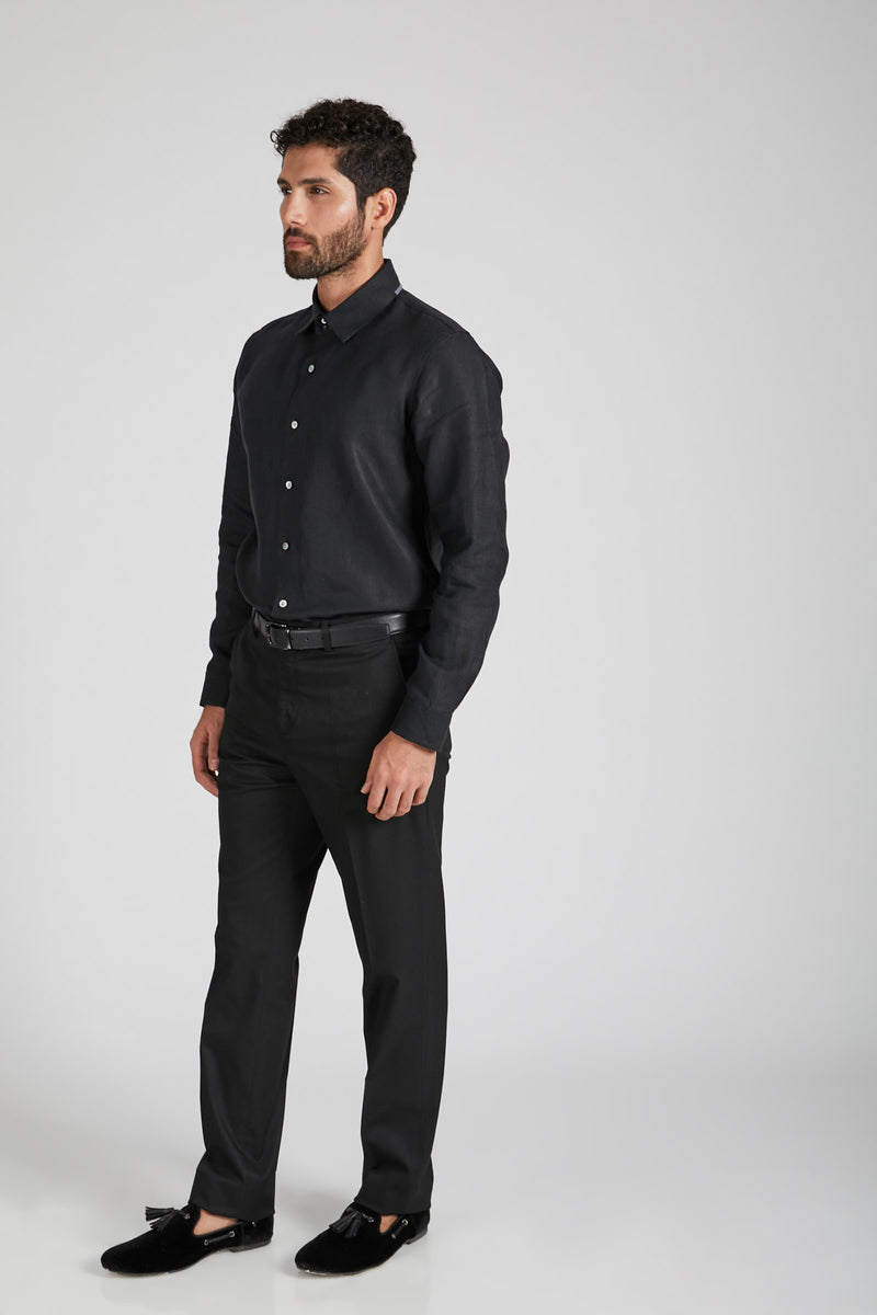 Aglow High Collar  Shirt  - Black