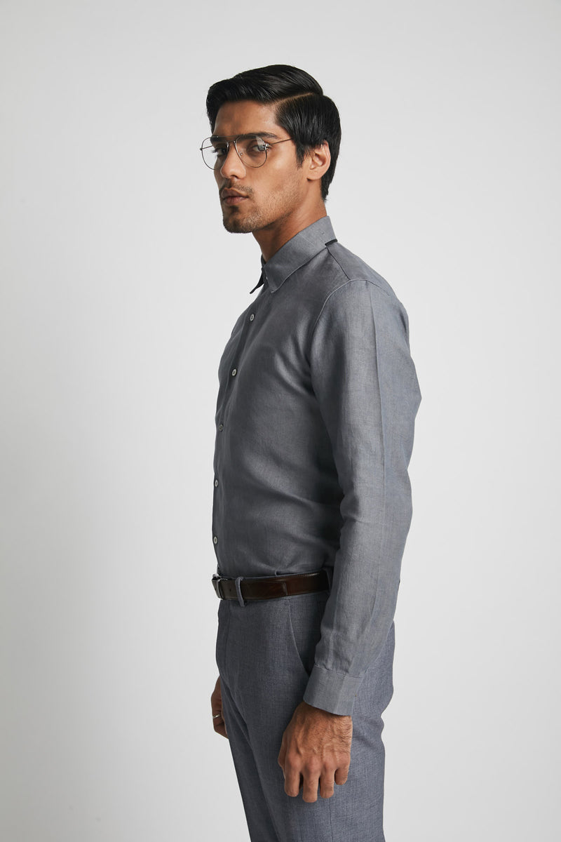 Aglow High Collar  Shirt  - Grey