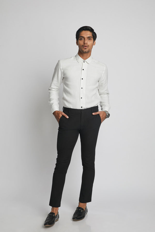 Aglow High Collar  Shirt  - White