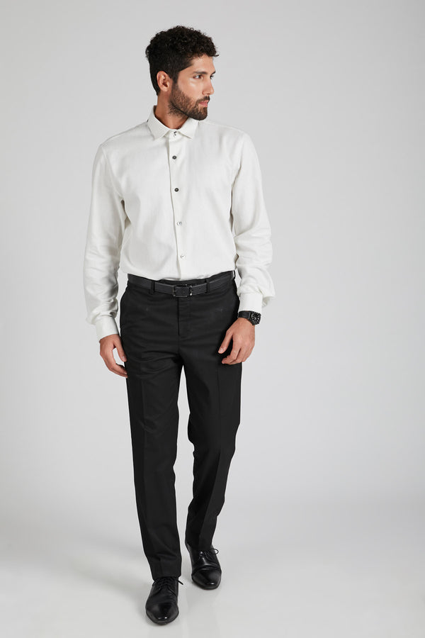 Aglow High Collar  Shirt  - Herringbone White