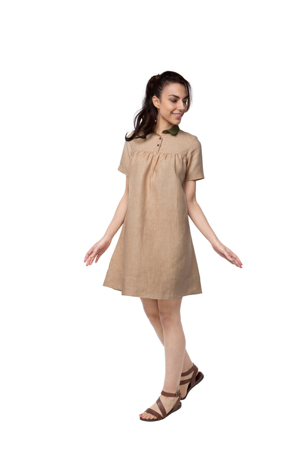Berry Contrast Collar Dress - Beige