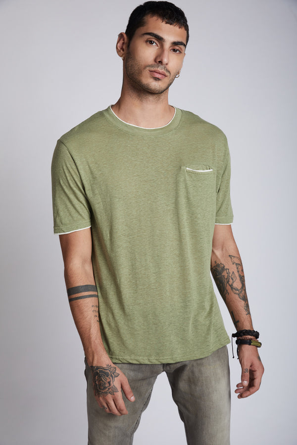 Peak Trimmed Pocket T-Shirt - Olive