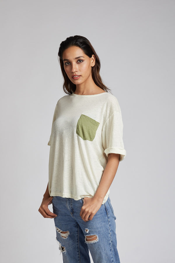 Venus Contrast Pocket T-Shirt - White