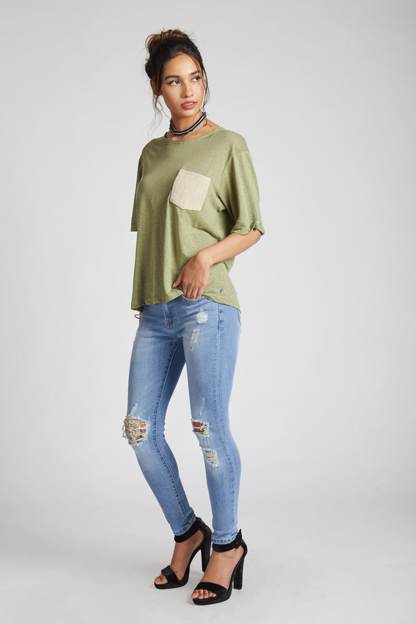 Venus Contrast Pocket T-Shirt - Olive (Only XXL Left)