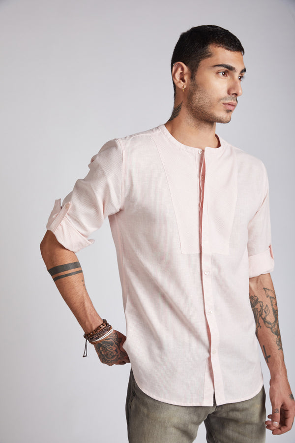 Kaleidoscope Round Neck Shirt - Peach Stripes