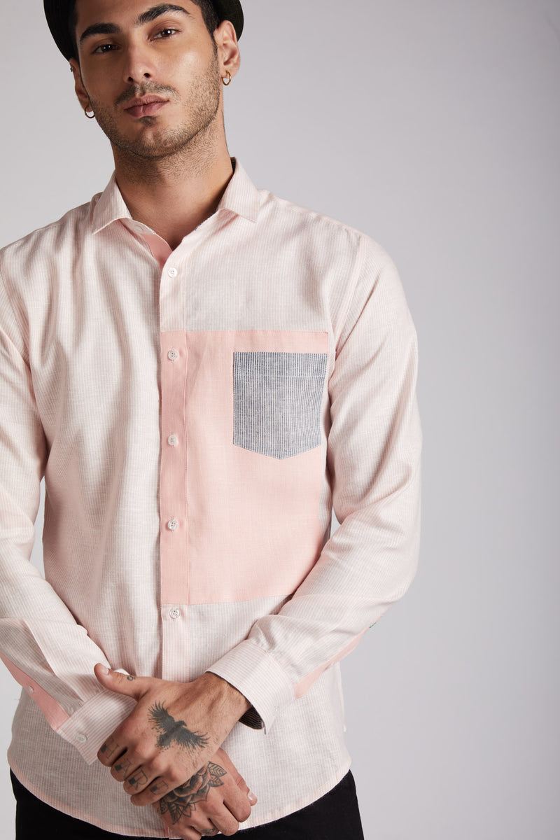 Vortex Color Block Shirt - Peach Stripes