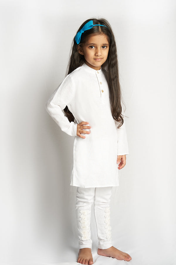 Wonder Mandarin Collar Kurta - White