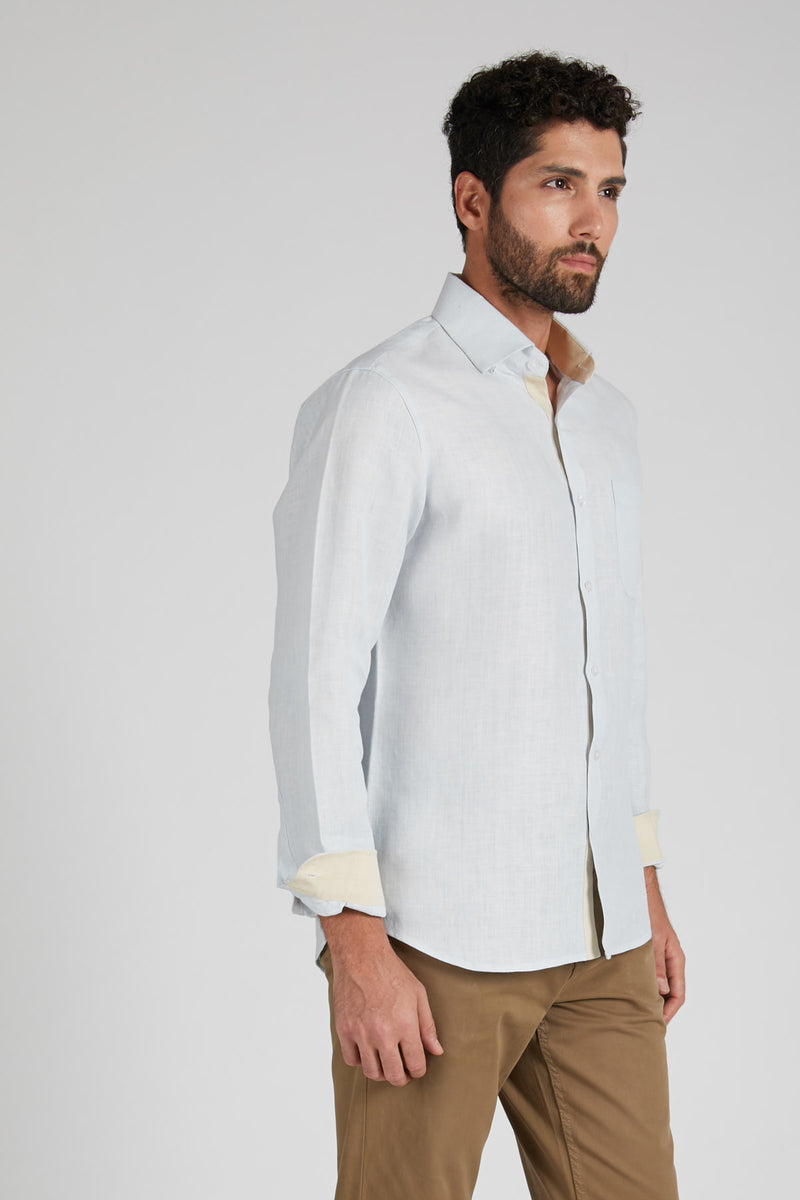Breath Contrast Trim Shirt - Blue