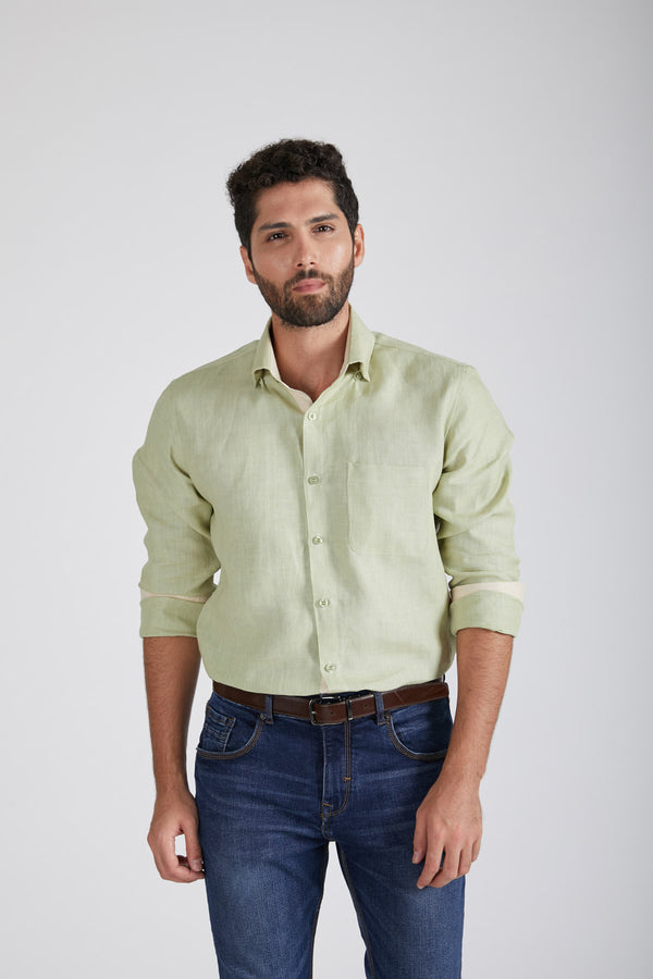 Breath Contrast Trim Shirt - Green