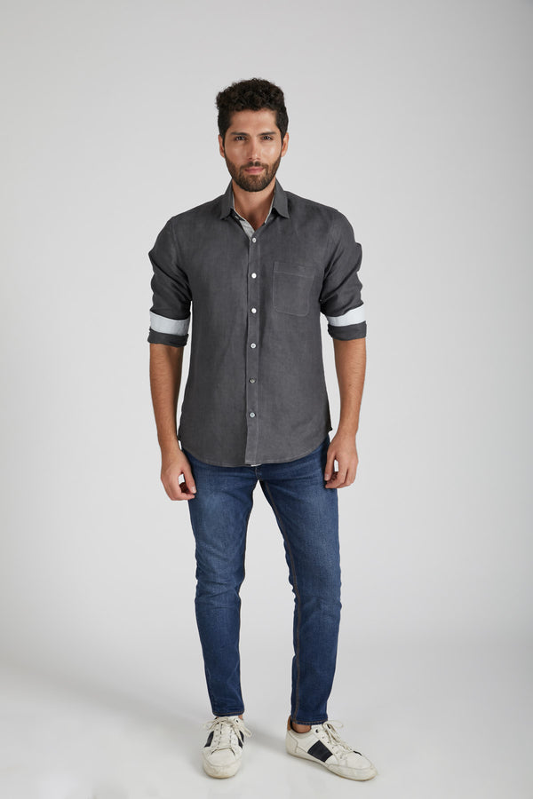Breath Contrast Trim Shirt - Grey