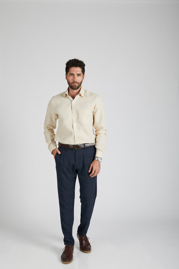 Breath Contrast Trim Shirt - Light Beige