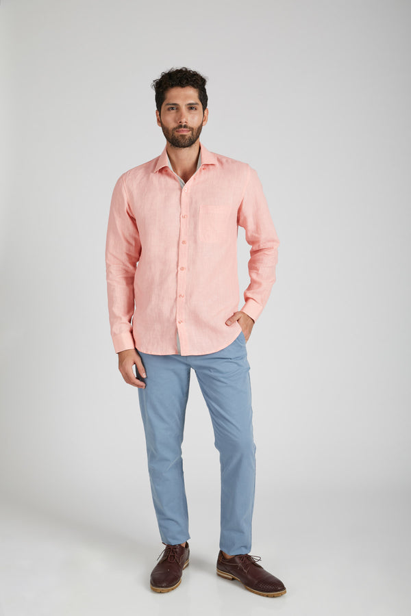 Breath Contrast Trim Shirt - Peach (only 38 left)