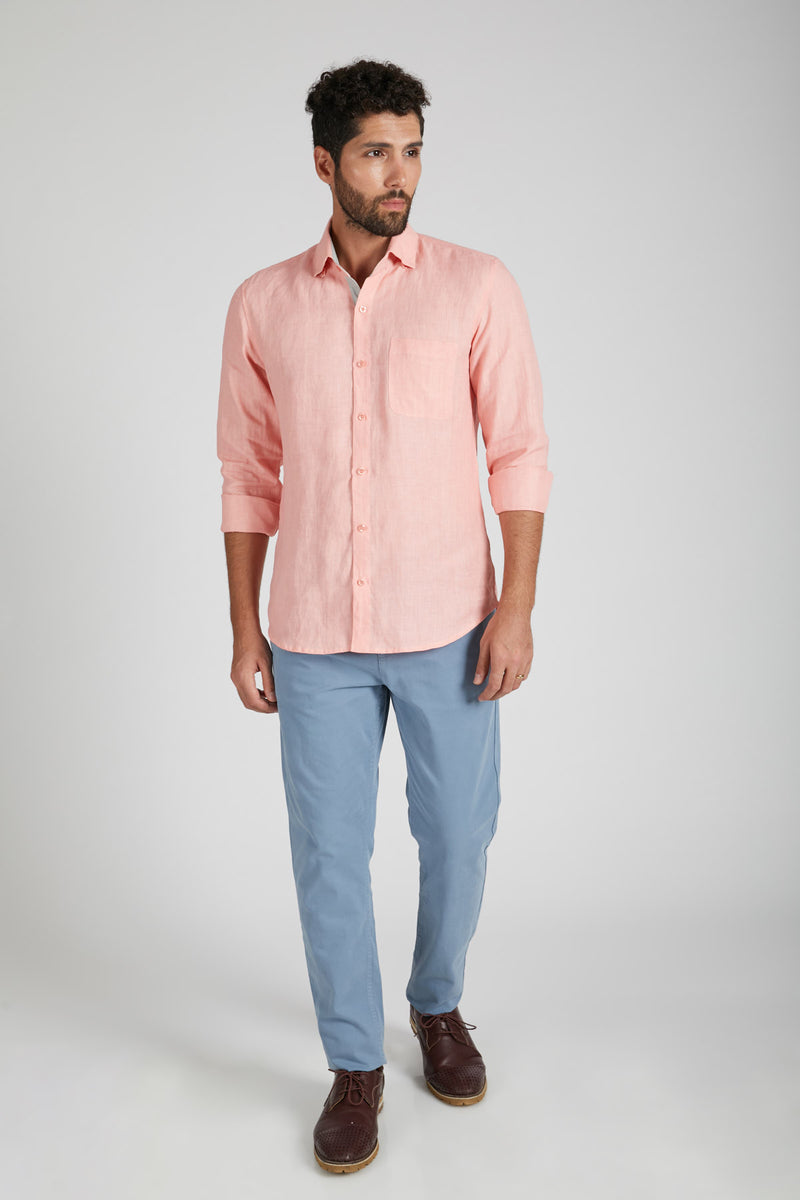 Breath Contrast Trim Shirt - Peach