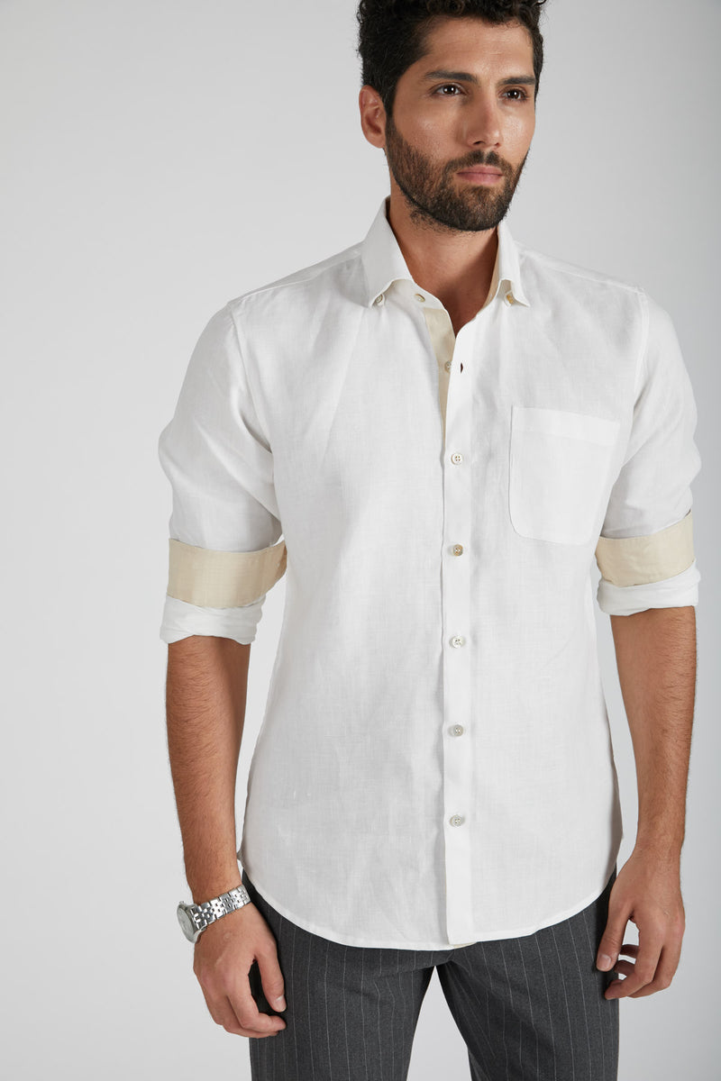 Breath Contrast Trim Shirt - White