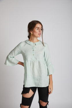 Bridge Gathered Top - Mint Green