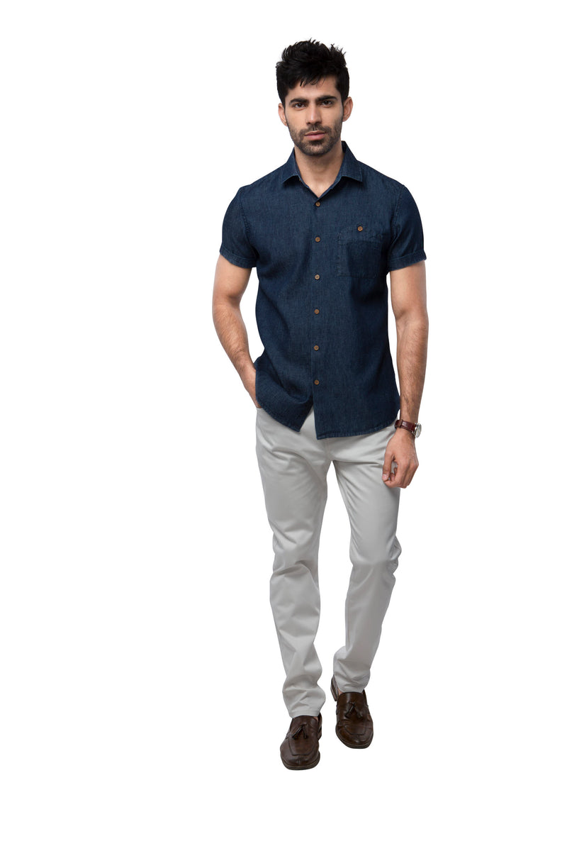 Burrow Half Sleeve Shirt - Denim Blue