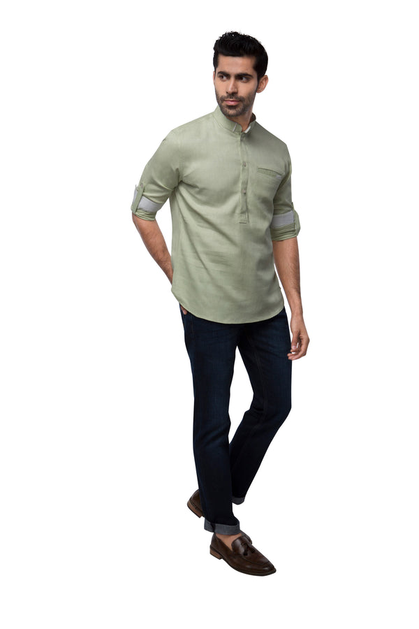 Canal Mandarin Collar Shirt - Pista (Only Size 44 Left)