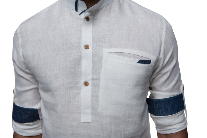 Canal Mandarin Collar Shirt - White