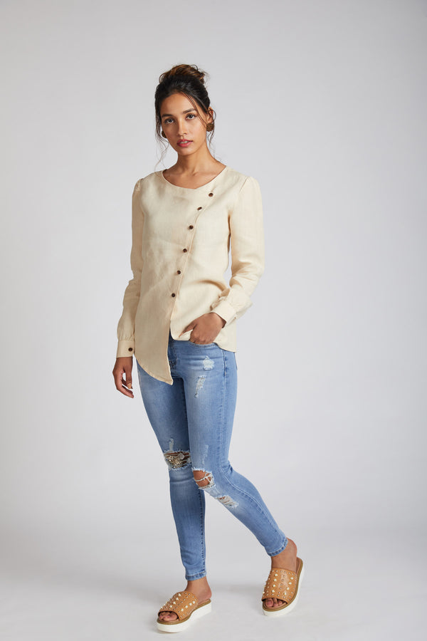 Compass Asymmetric Top - Beige (only XS left)