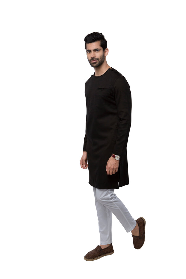 Crackle Kurta  - Black