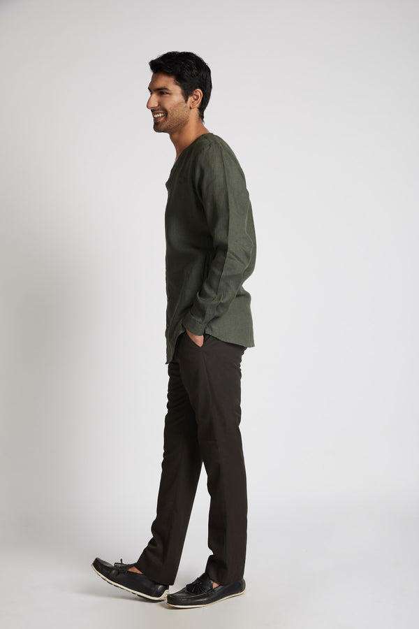 Crescent V Neck Kurta - Bottle Green