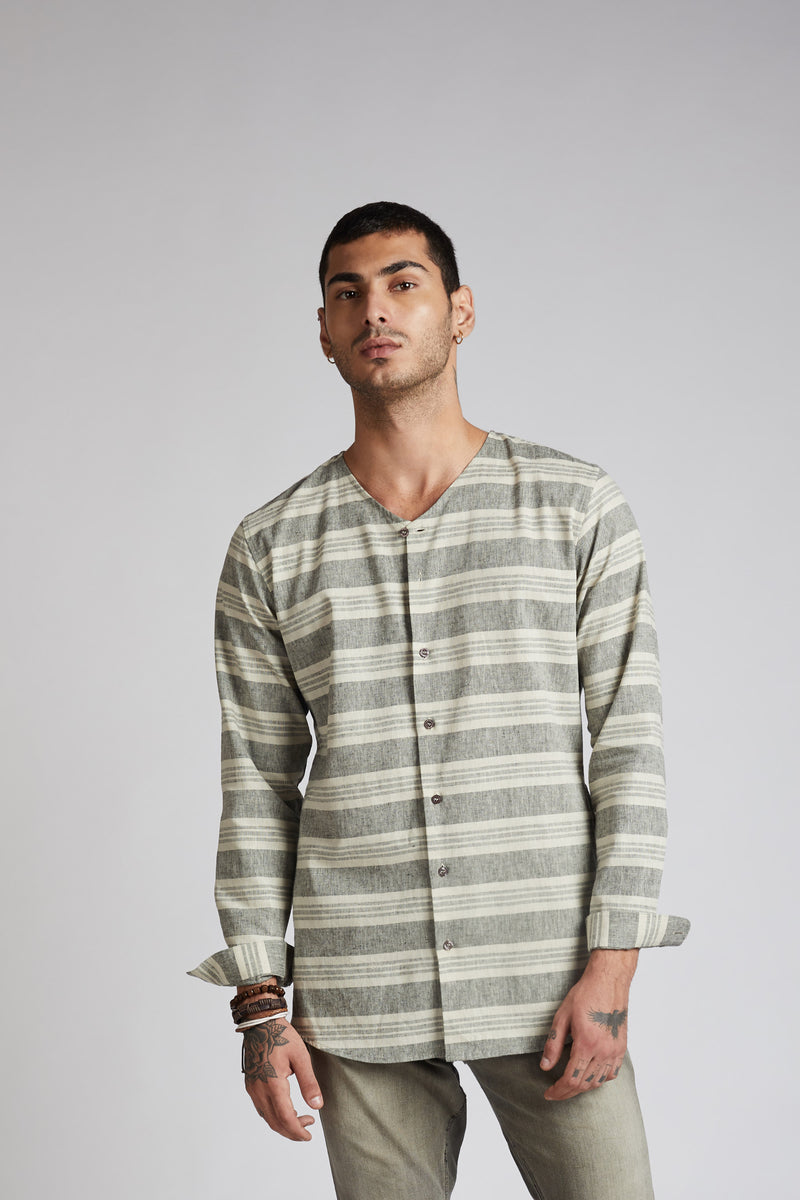 Crescent V Neck Kurta - Horizontal Stripes