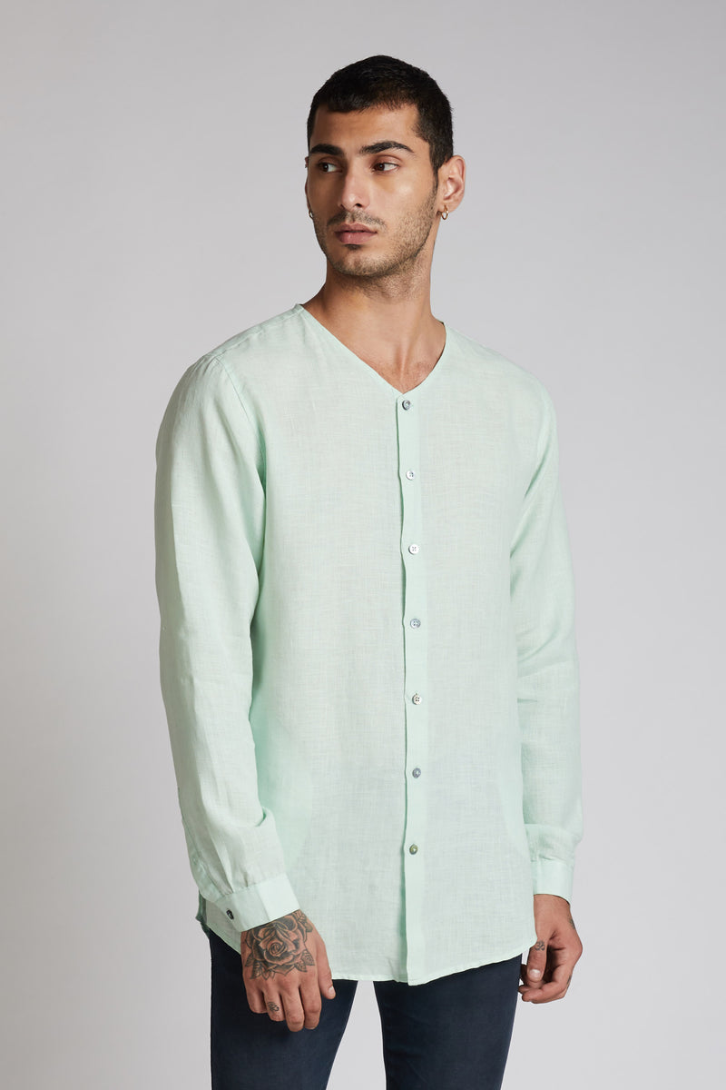 Crescent V Neck Kurta Mens - Mint Green