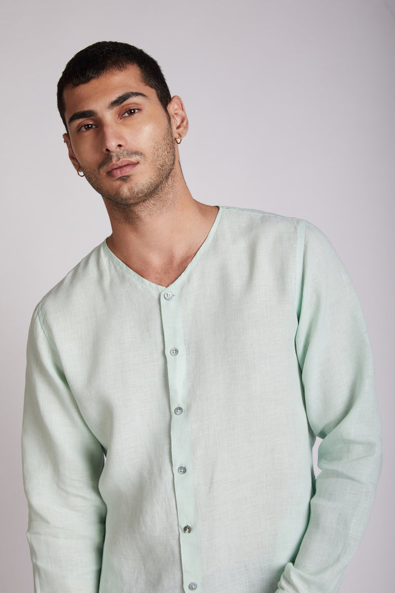 Crescent V Neck Kurta - Mint Green