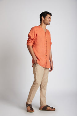 Crescent V Neck Kurta - Orange