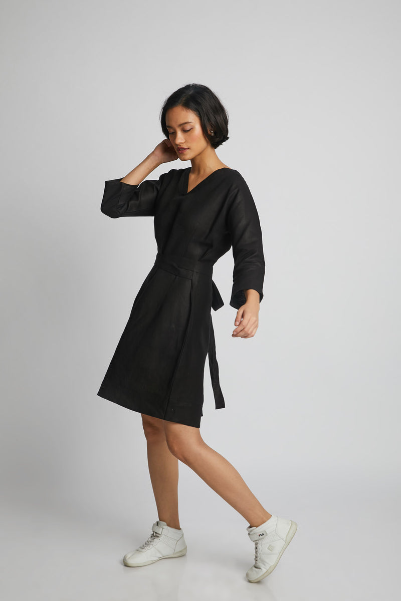 Dazzle Tie Up Dress - Black