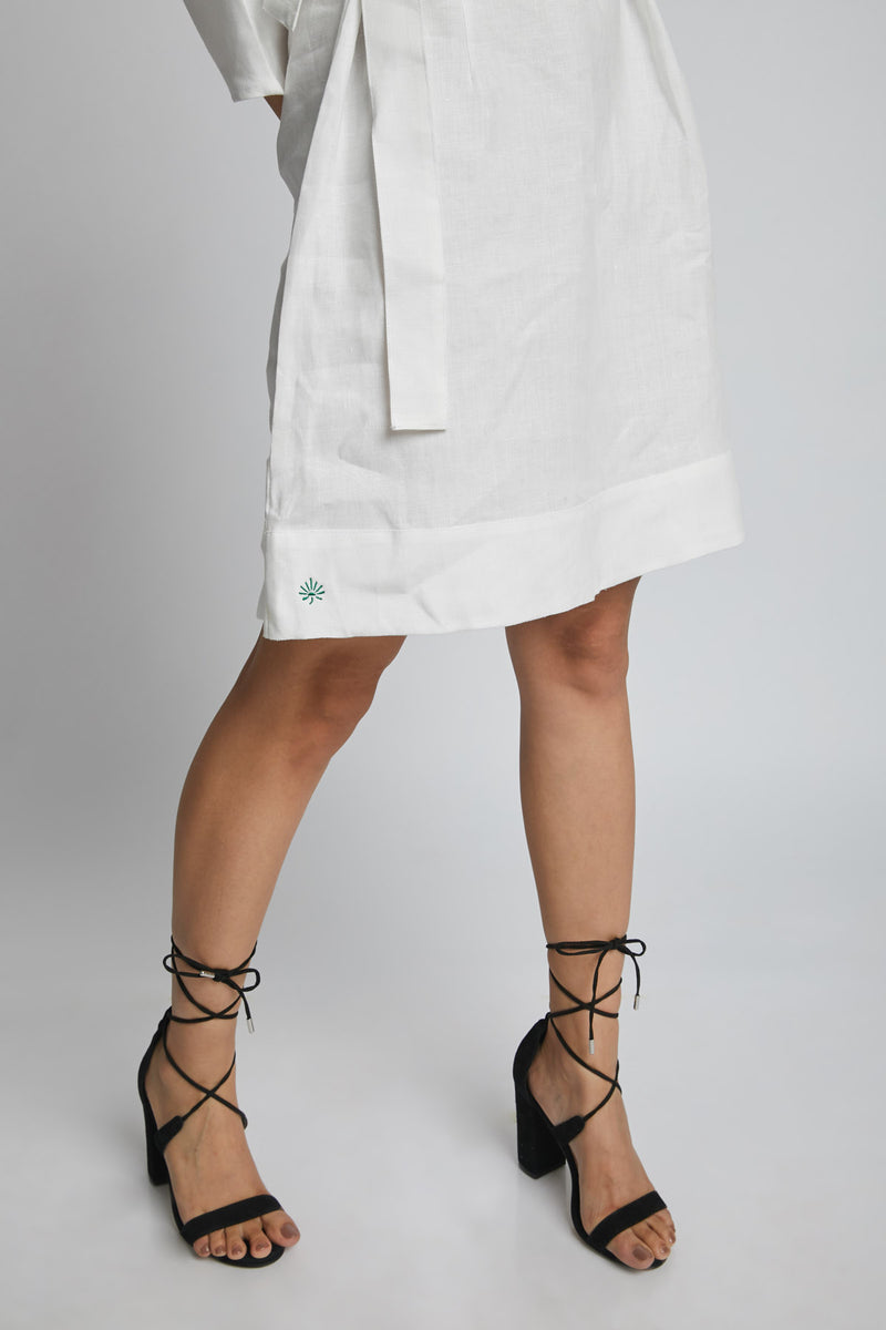 Dazzle Tie Up Dress - White