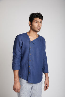 Delta Asymmetric Shirt - Navy