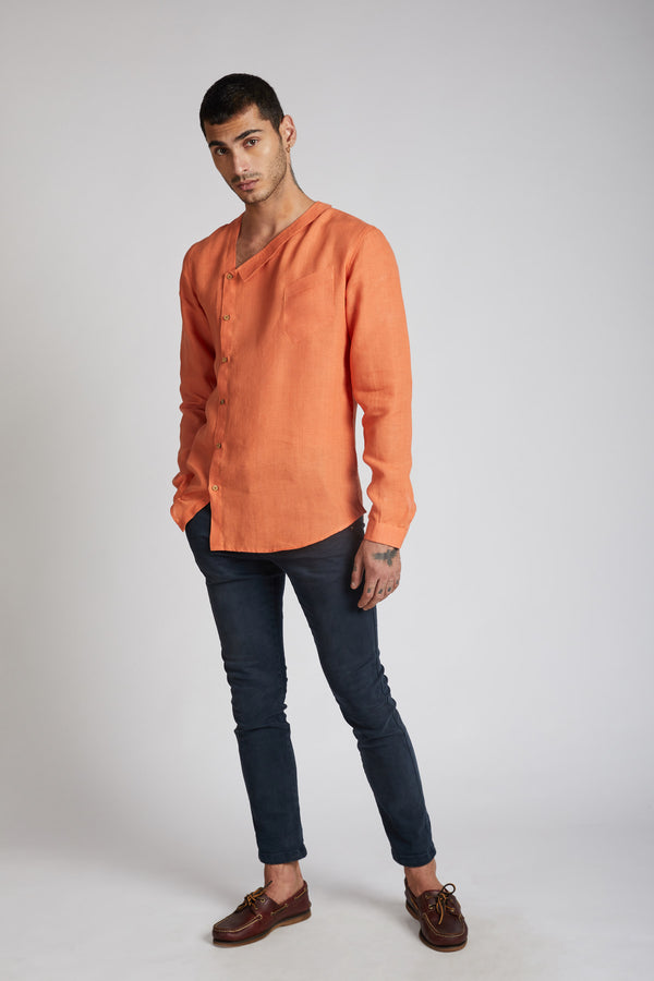 Delta Asymmetric Shirt - Orange