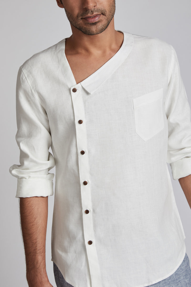 Delta Asymmetric Shirt - White