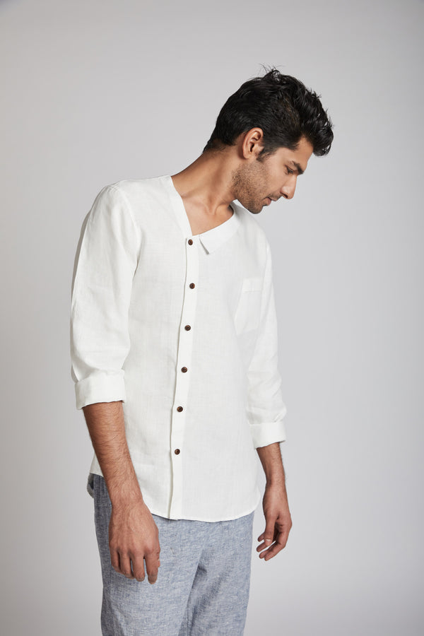 Delta Asymmetric Shirt - White (Only 44 Left)
