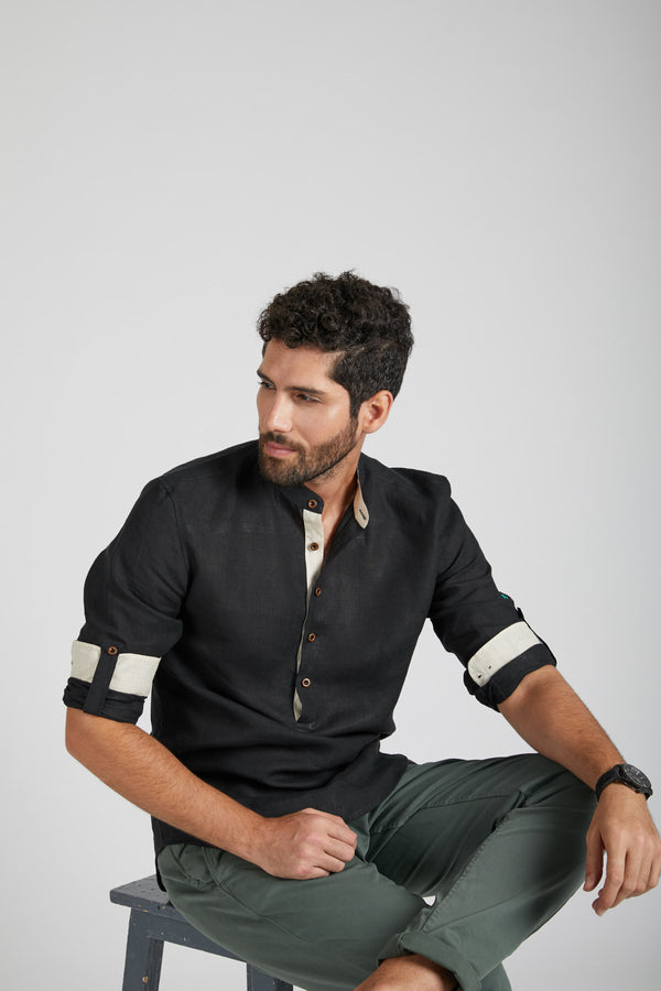 Earthen Mandarin Casual Shirt - Black (Only Size 42 left)