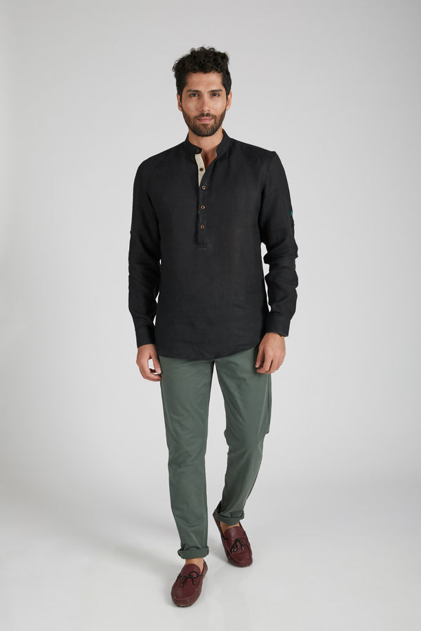 Earthen Mandarin Casual Shirt - Black