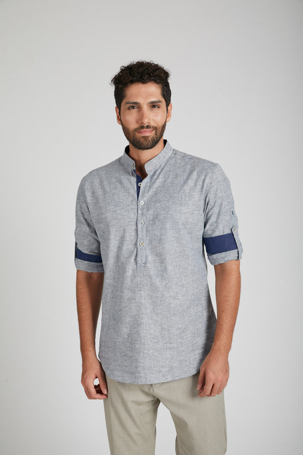 Earthen Mandarin Casual Shirt - Blue Melange