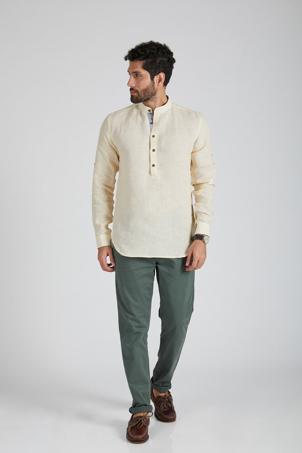 Earthen Mandarin Casual Shirt - Light Beige